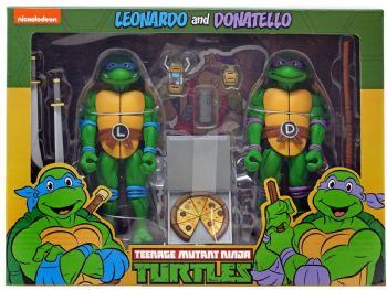 NECA Teenage Mutant Ninja Turtles Cartton Series 2 Leonardo and Donatello Figure 2 Pack